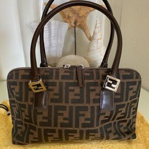 Vintage Authentic Fendi Zucca Print Boston Handbag